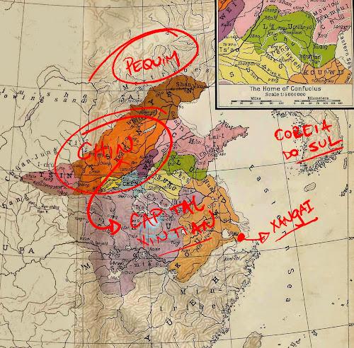 Mapa da China no período das Primaveras e Outonos, no qual teria vivido Sun Tzu, autor d'A Arte da Guerra; destaque para a província de Chin.