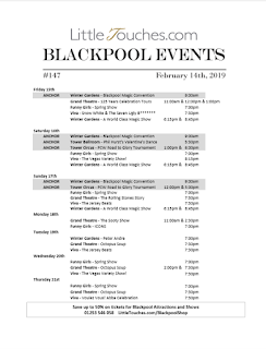 B2B Blackpool Hotelier Free Resource - Blackpool Shows and Events February 15 to February 21 - PDF What's On Guide Listings Print-off #147 Thursday February 14