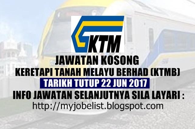 Jawatan Kosong di Keretapi Tanah Melayu Berhad (KTMB) Jun 2017