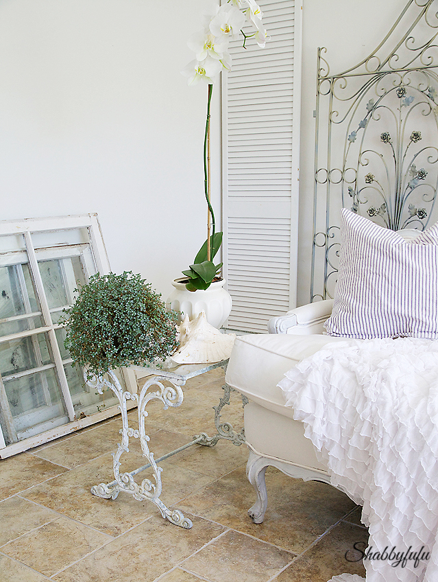 white and green living room