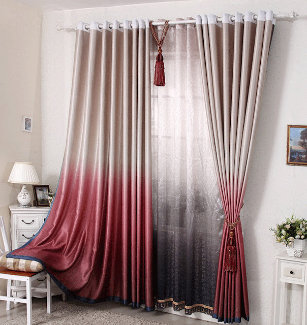 modern grey and red curtains for bedroom