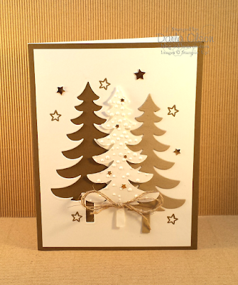 Handmade card with star-studded, rustic, snowy trees created with Santa's Sleigh shared by Darla Olson at Inkheaven