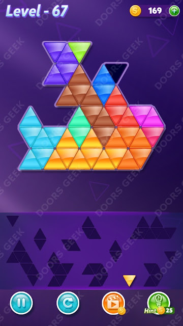 Block! Triangle Puzzle 12 Mania Level 67 Solution, Cheats, Walkthrough for Android, iPhone, iPad and iPod