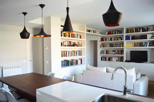 Reforma de lujo-Vivienda-Arquitectos-Madrid-Lamparas Tom Dixon