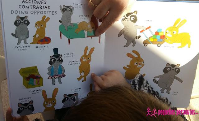 club de lectura, mi primer imaginario de contrarios bilingüe, imaginario, ingles, castellano, libros infantiles, literatura infantil, libros, antonimos, contrarios