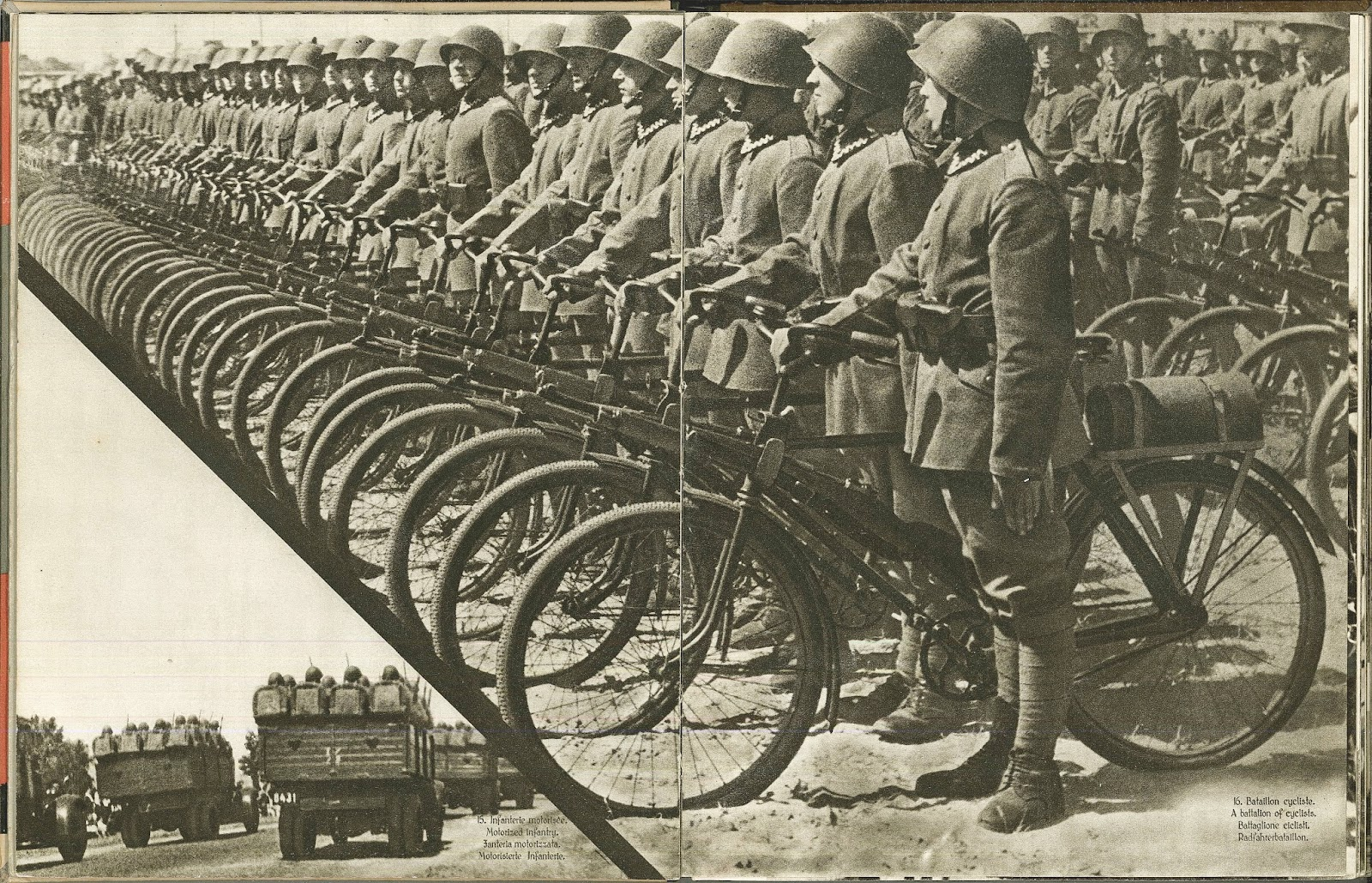 A photograph showing a line of uniformed men with bicycles. In the lower left corner is a smaller photograph of men in army trucks.