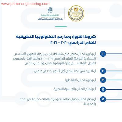 شروط القبول بمدارس التكنولوجيا التطبيقية للعام الدراسي ٢٠٢٠ / ٢٠٢١