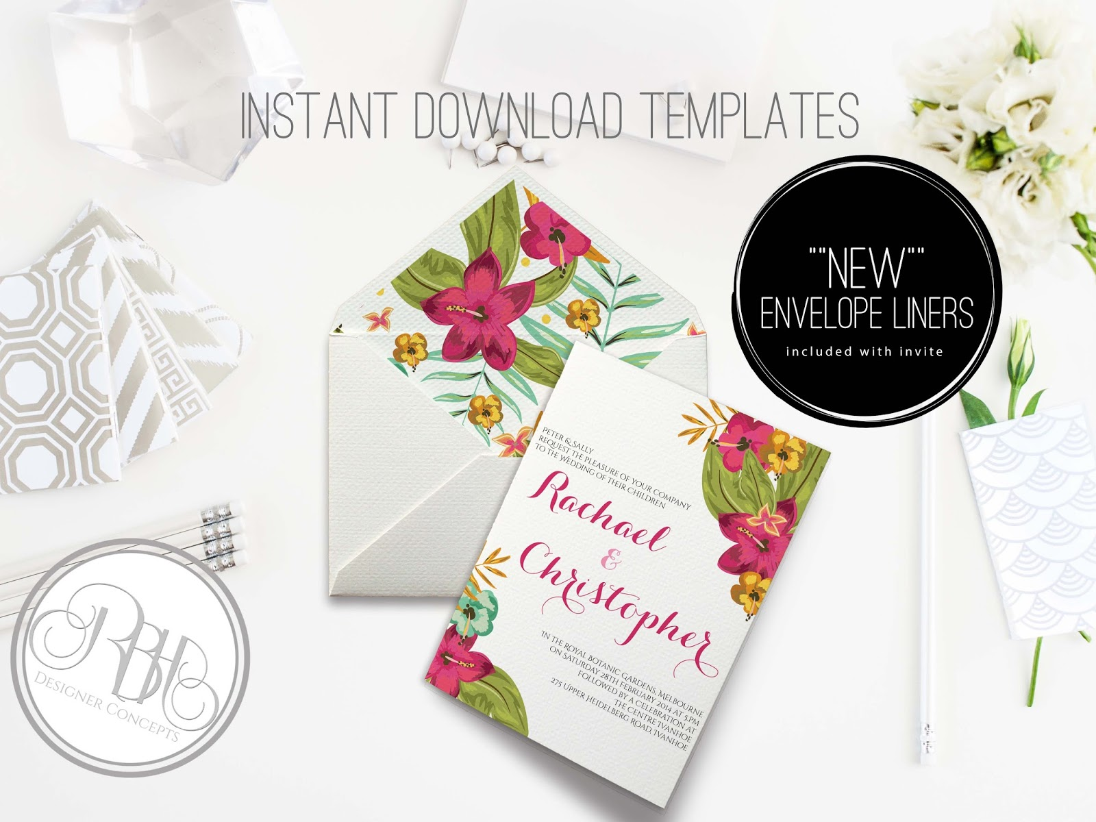 Tropical Watercolor Invitation Design INVITE RSVP ENVELOPE LINER