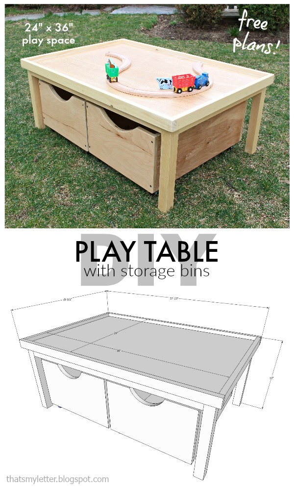 that 39 s my letter diy play table 24 x 36 with storage bins free plans. Black Bedroom Furniture Sets. Home Design Ideas