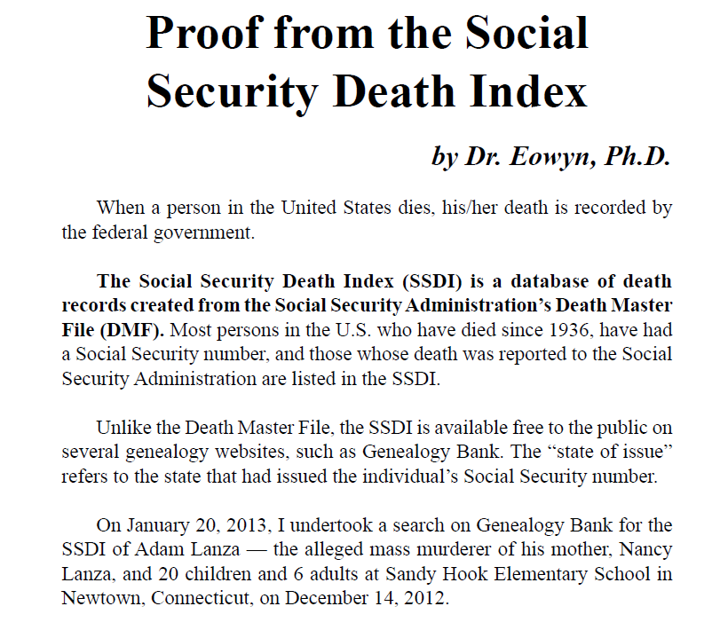 social security government death index