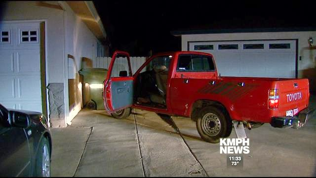 clovis police chase wanted parolee pickup truck crash collision