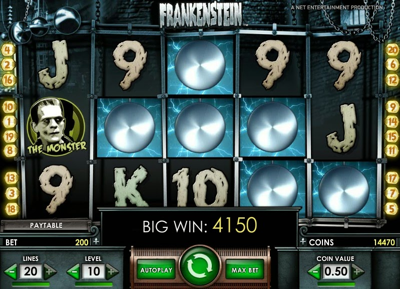 Frankenstein Video Slot Screen