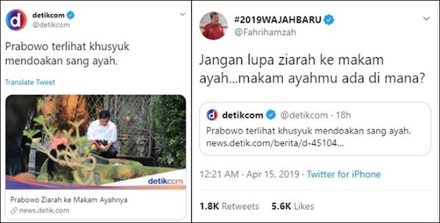 Prabowo Ziarah ke Makam Ayahnya, Fahri Tanya Makam Ayahmu Ada Dimana? Eh Ada yang Ngamuk