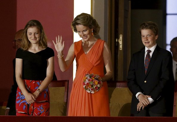 Queen Mathilde wore a silk dress from Giorgio Armani Spring/Summer 2018 collection. Crown Princess Elisabeth at Queen Elisabeth Competition at Bozar