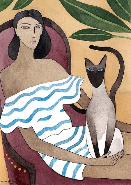 Kelly Beeman arte | dibujo en acuarela de mujer y gato siames