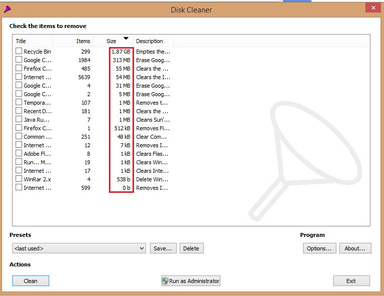 Télécharger Disk Cleaner Pour supprimer les fichiers inutiles de votre ordinateur clean