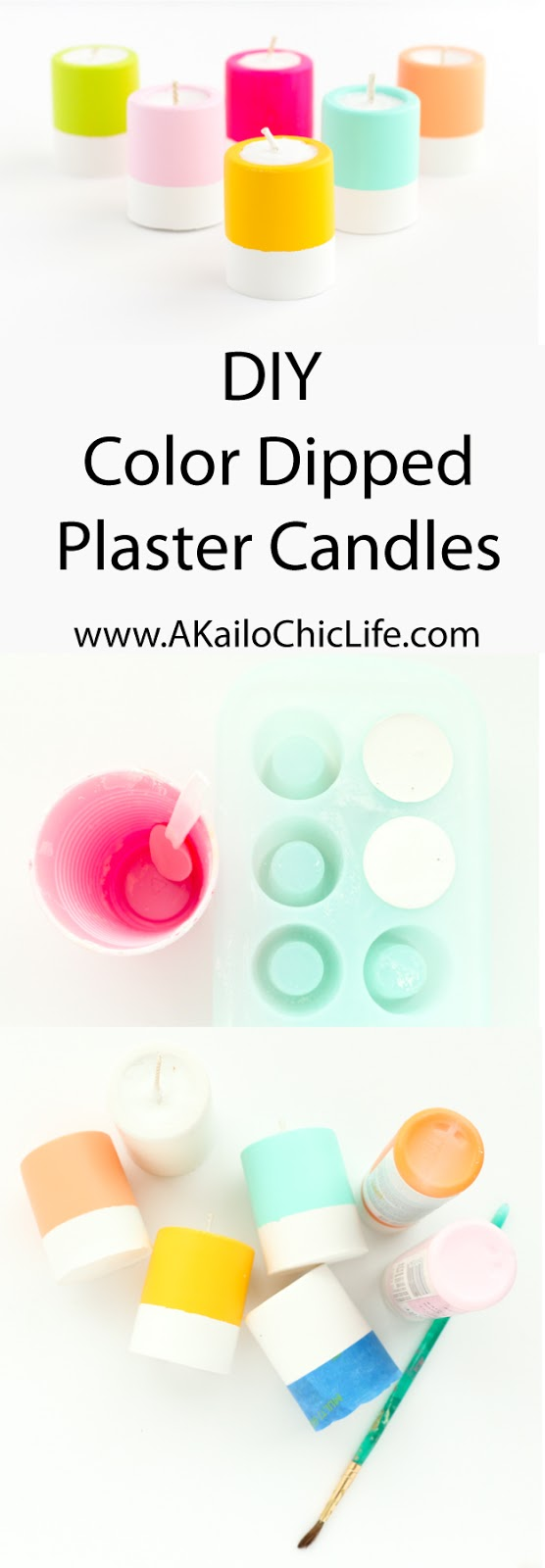 DIY Colorful Plaster Candles - Learn how to make your own candles and plaster candle holders - summer entertaining ideas - DIY candes - candle craft - colorful - colorblocked - gift idea - DIY gift - Summer Party