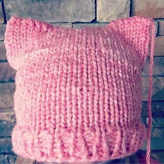 Loom knit cat pussy hat project hat pattern