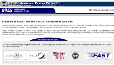 screen capture of the home page at https://goes-app.cbp.dhs.gov/pkmslogout illustrating what it looks like when you have seven different logos on one page