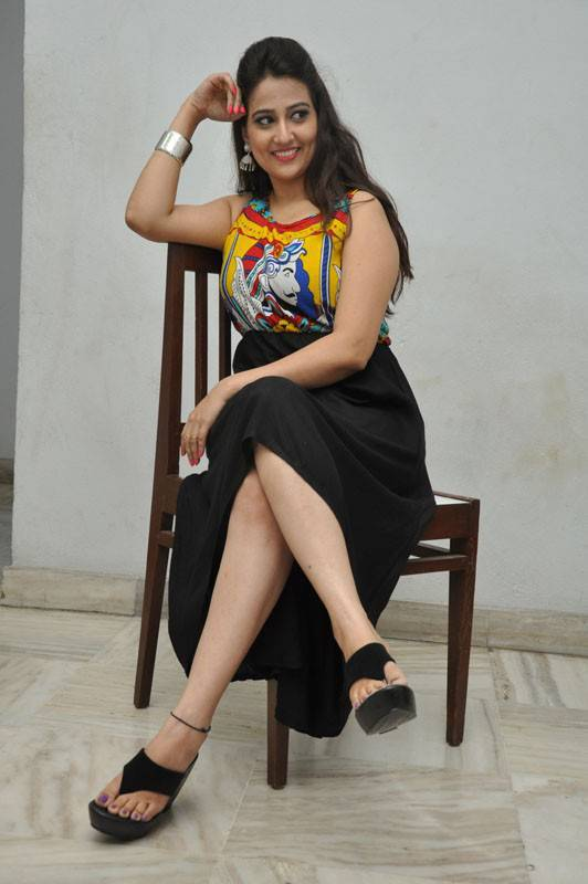 South Indian Hot Girl Manjusha Thighs Photos In Black Dress At Audio Launch