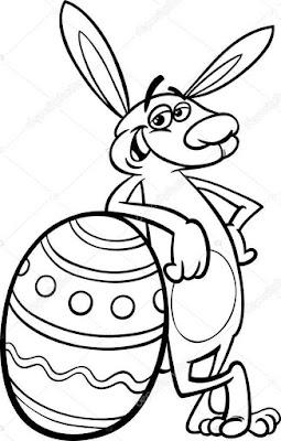 Gambar Sketsa Kelinci Berdiri Hitam Putih Mudah Diwarnai atau Mewarnai untuk Anak TK atau SD_Funni standing rabbit coloring pages