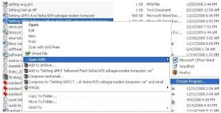 Mengubah software default pembuka sebuah file