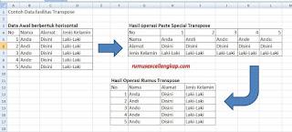 contoh penggunaan transpose dengan rumus excel