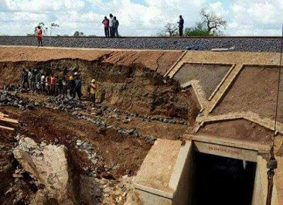 SGR section washed away by Rain in Makueni. PHOTO | Courtesy