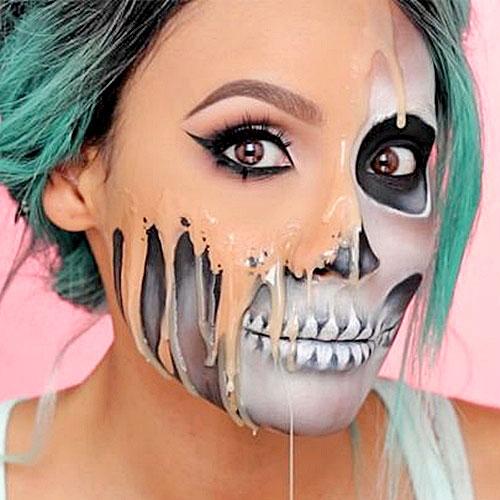 Impactante maquillaje para Halloween de chica derretida