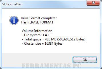 SD Formatter - Formatação completada