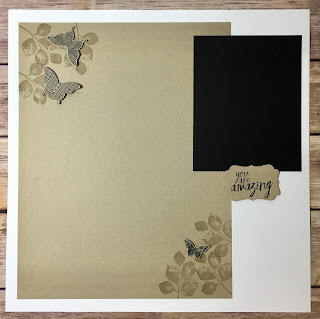 This 12x12 Scrapbook Page uses Stampin' Up!'s Kinda Eclectic and All Things Thanks stamp set.  We also used the Elegant Butterfly and Decorative Label Punch.  The colors are Whisper White, Crumb Cake, and Basic Black.  #stampinup #stamptherapist www.stampwithjennifer.blogspot.com