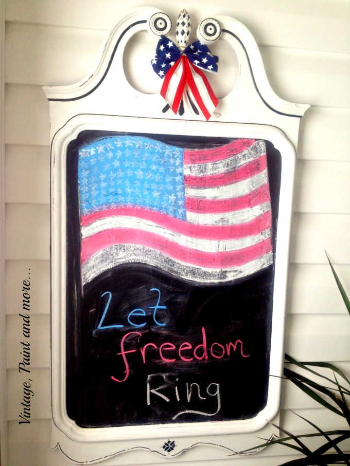 Vintage, Paint and more... diy chalkboard with americana decor, patriotic chalkboard, flag topography