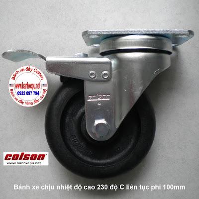 Bánh xe đẩy hàng chịu nhiệt 230 độ Colson có khóa | 2-4646-53HT-BRK4 banhxedaycolson.com
