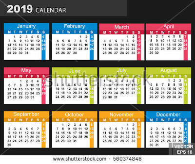 Download Kalender 2019 Masehi / 1440 Hijriyah Corel Gratis Bisa Edit