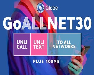 Globe GoALLNET30– Unli Call and Text to All Networks + 100MB Data