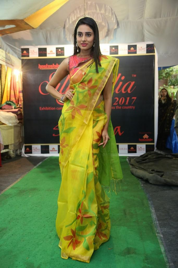 Hyderabad Girl In Lemon Yellow Sari Nikita Chaturvedi At Silk India Expo