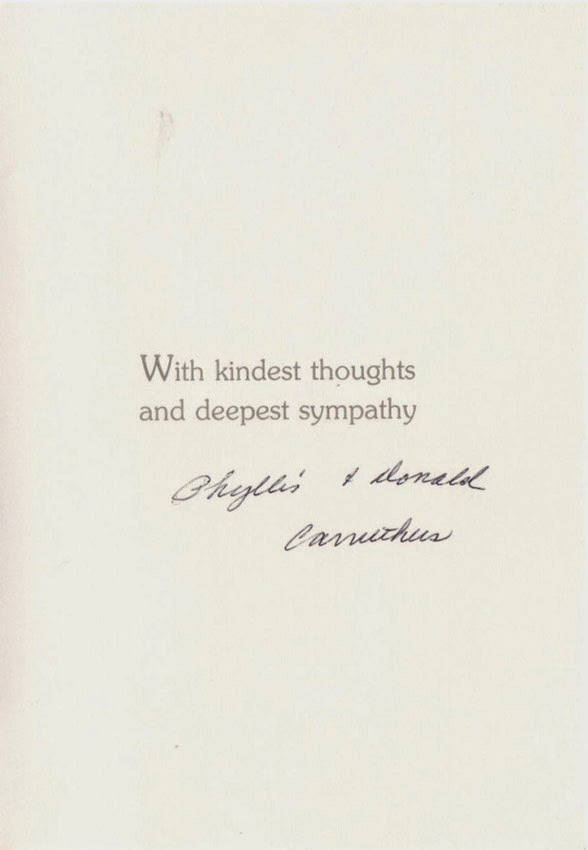 Inside Sympathy Card from Phyllis and Donald Carruthers 1990 http://jollettetc.blogspot.com