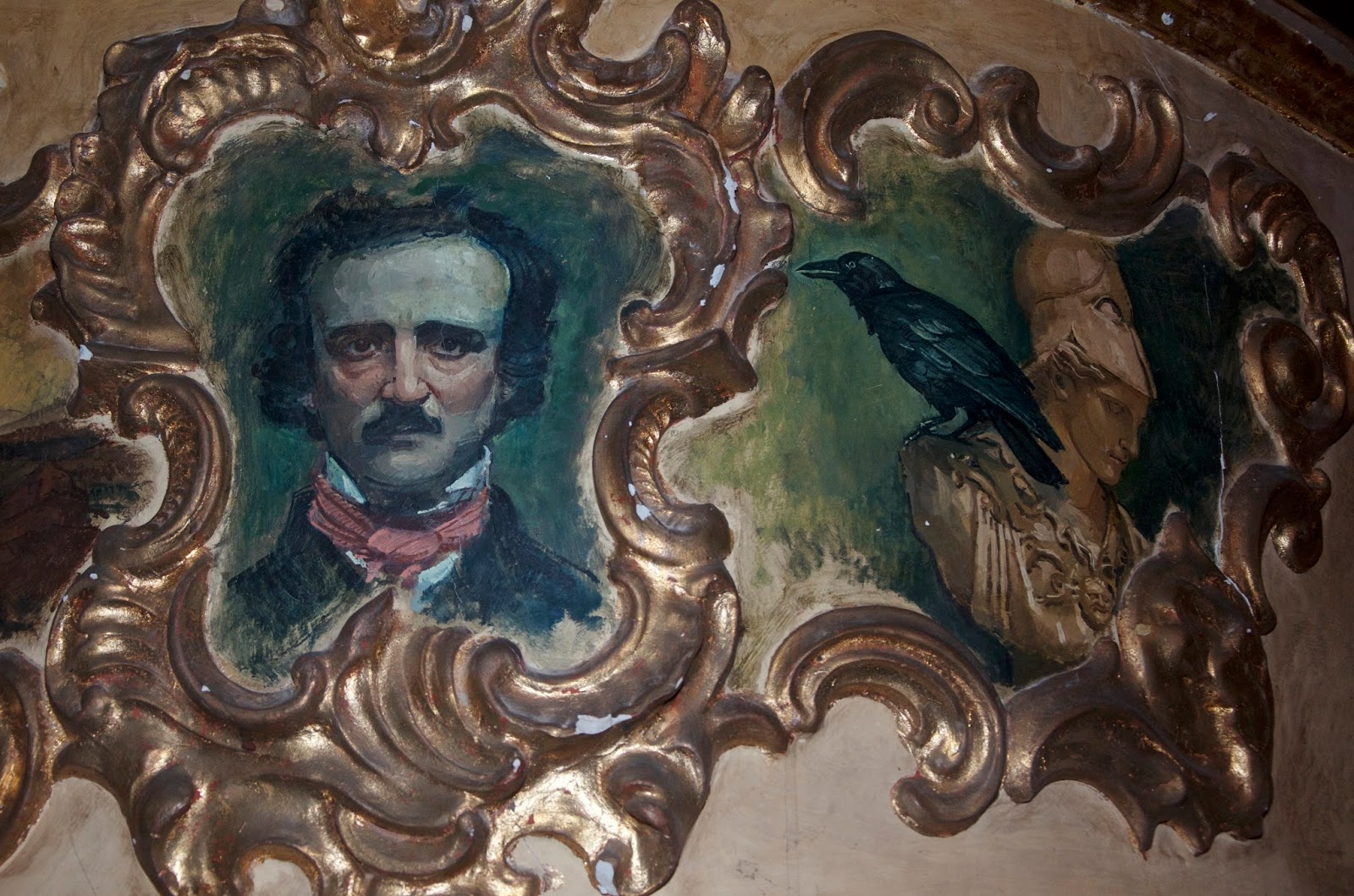 Edgar Allan Poe and raven painting
