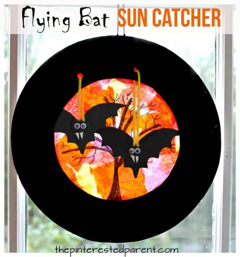 Flying suncatcher bat craft - Halloween bat crafts for kids