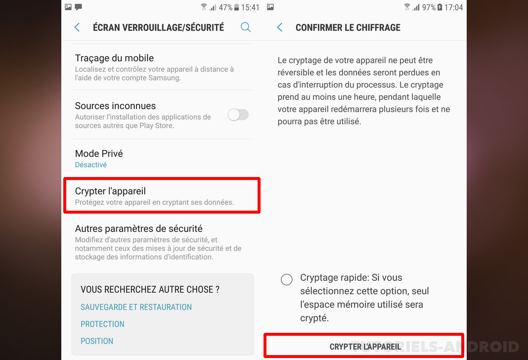 Encrypt smartphone Android