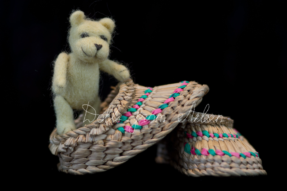 OOAK mini needle felted teddy bear standing in shoe