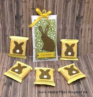 Verpackung Schokolade für Ostern mit Stampin up Stanzen Katze, Fuchs, Baum, Gänseblümchen und Kreis