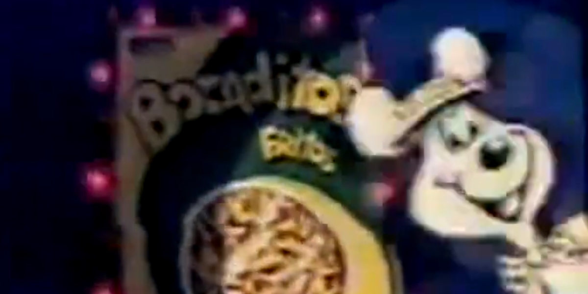 Propaganda antiga da Elma Chips apresentando o Bocaditos, em 1982