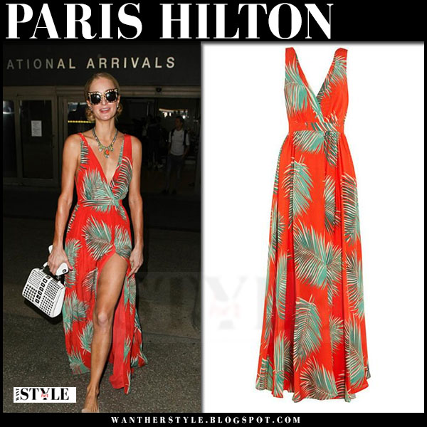 Paris Hilton in red palm leaf print maxi dress paul and joe what she wore