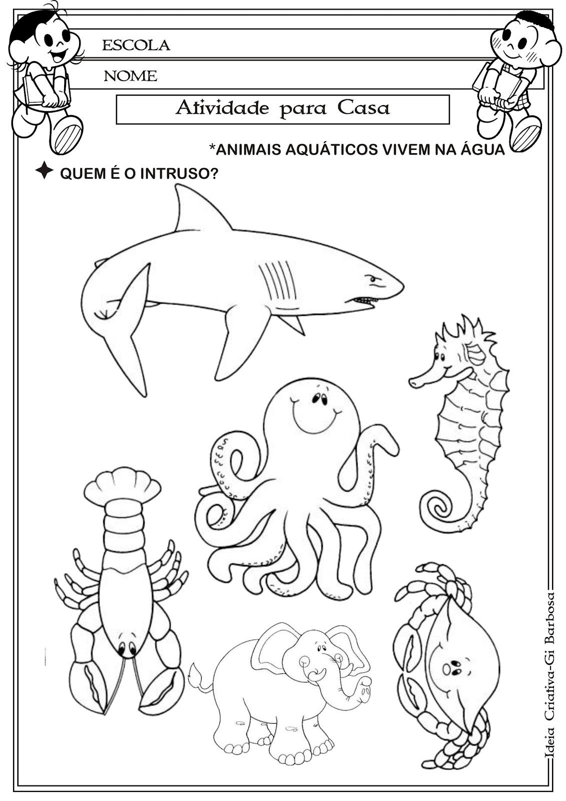 ANIMAIS AQUÁTICOS E TERRESTRES - 40 ATIVIDADES EXERCÍCIOS ...
