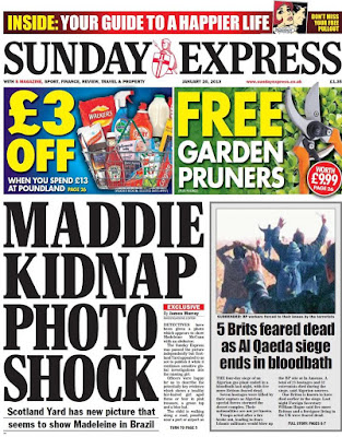Man responsible for hoax sightings of Madeleine, is a McCann family friend.  Express%2Bfront%2Bpage%2Bheadline
