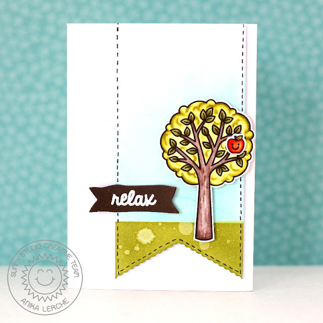 Sunny Studio Stamps: Relax Apple Tree Card by Anni (using Summer Picnic & Fishtail Banners)