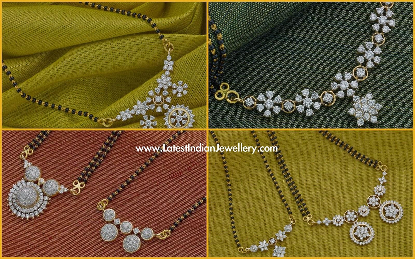 Diamond Pendant Black Beads Mangalsutra Designs Latest
