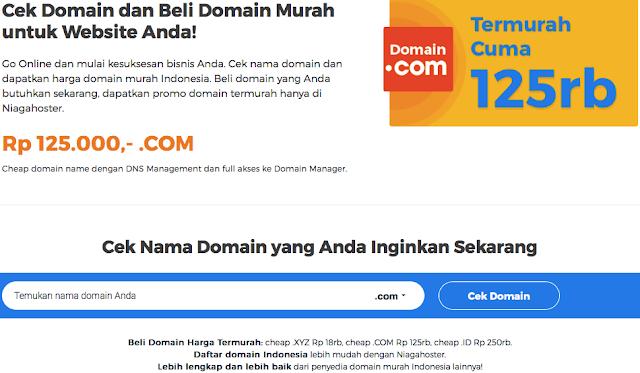 Beli domain di web hosting Niagahoster