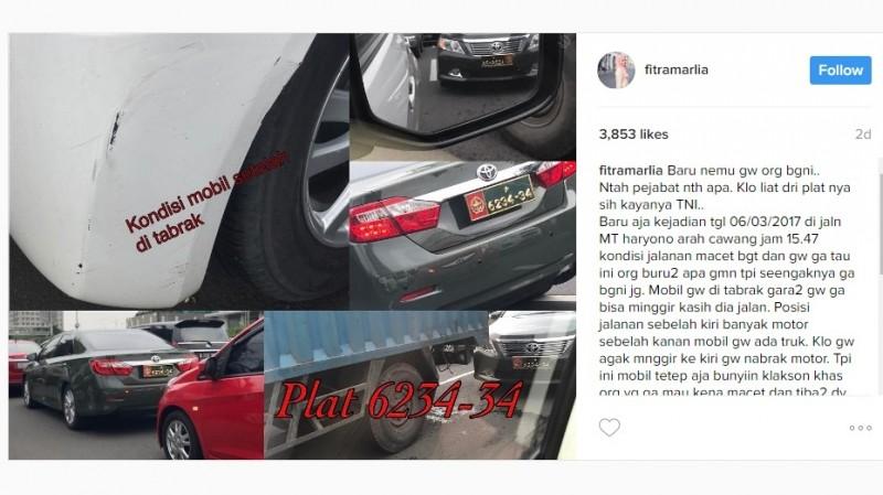 Fitra Marlia curhat ditabrak mobil TNI AD